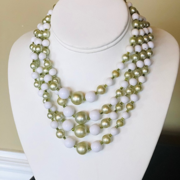 Vintage 4 Strand Green and White Bead Necklace